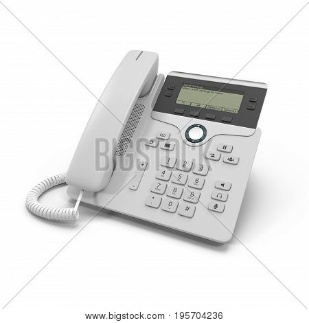 IP phone on a white background. 3D illustration, clipping path