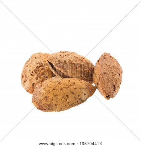 Almond Nut In Shell Isolated On White Background