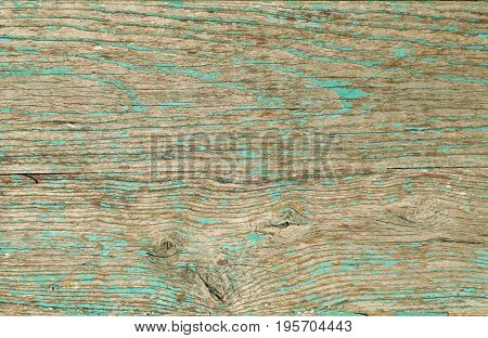 Wooden board painted in green color with cracked and peeling paint. Wooden green board background.