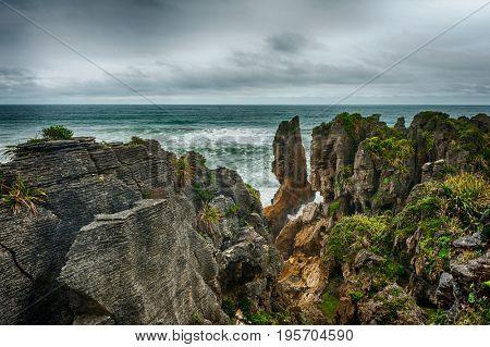 Pancake rocks in Punakaiki, Paparoa national park, New Zealand