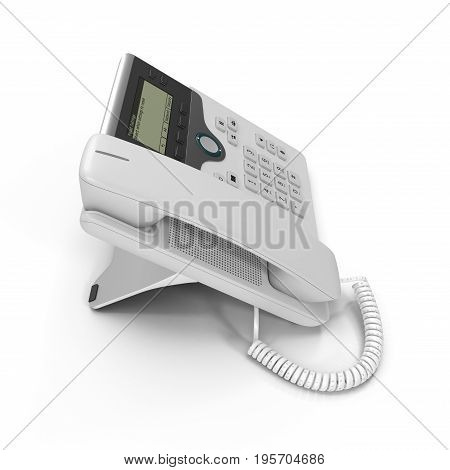 Modern office phone using VoIP technology on a white background. 3D illustration, clipping path