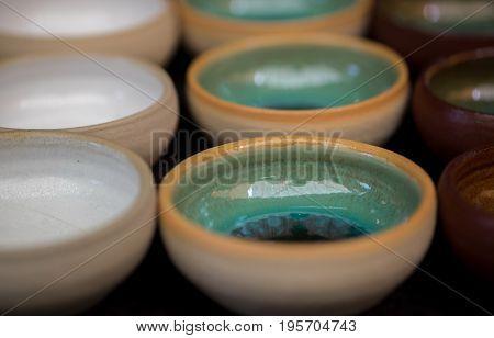 Ceramic handmade bowls for sale at handicraft market. Israel