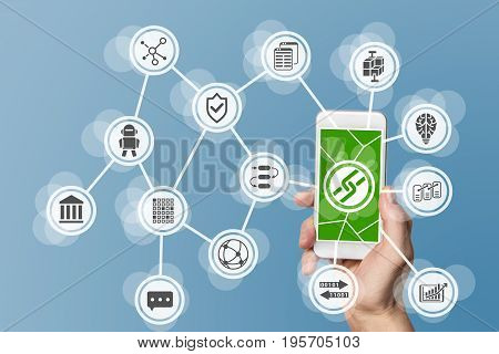 Blockchain and mobile computing background with smartphone and icons