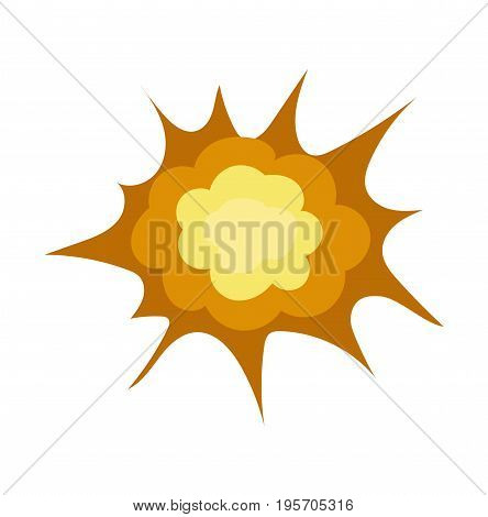 Explosion icon in cartoon style isolated on white background. Vector stock.