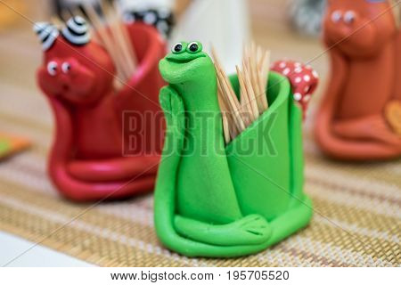 Funny snake green and red handmade toothpick holder
