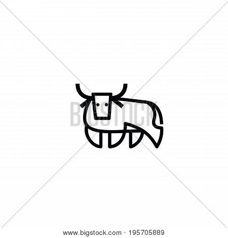 Linear stylized drawing of bull ox or cow - for icon or sign template