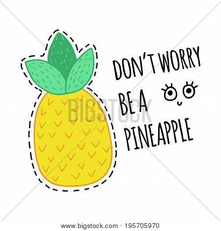 Hand drawn doodle pineapple illustration card print on white background