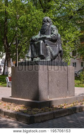 Sortavala, Republic of Karelia, Russia - June 12, 2017: Monument Petri Shemeikka, Karelian runic singer and storyteller The monument was erected in the center of the square on the square Vainamoinen.