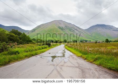 Roadside views in Lake District National Park, England, road to Scafell Pike, selective focus