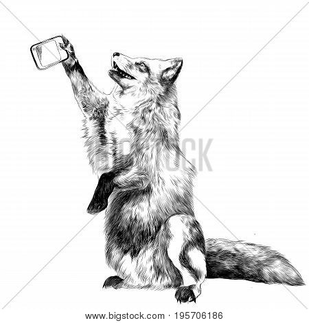 a Fox on its hind legs is photographed taking a selfie on the phone sketch vector graphics black and white drawing
