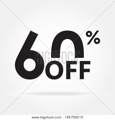 60% off. Sale and discount price sign or icon. Sales design template. Shopping and low price symbol. Vector illustration.