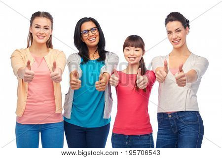diversity, race, ethnicity and people concept - international group of happy smiling different women over white showing thumbs up