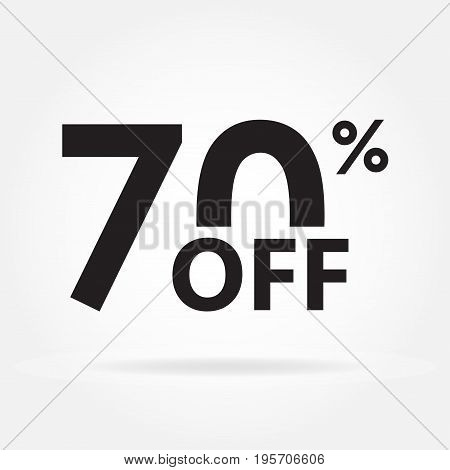 70% off. Sale and discount price sign or icon. Sales design template. Shopping and low price symbol. Vector illustration.