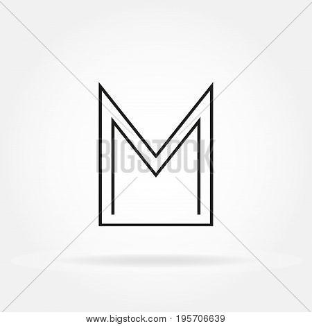 M letter icon. M monogram or emblem. Vector design element for branding
