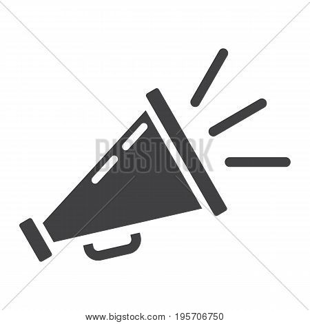 Promotion solid icon, business and loudspeaker, vector graphics, a glyph pattern on a white background, eps 10.