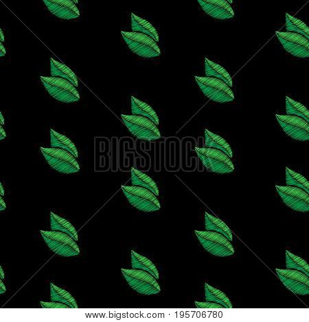 Seamless pattern with little green leaf embroidery stitches imitation. Embroidery background with leaf. Embroidery green color leaf seamless pattern.