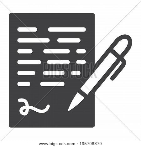 Pen signing solid icon, business contract and signature, vector graphics, a glyph pattern on a white background, eps 10.