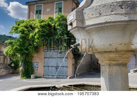 Ansient fountain in Riez. Alpes-de-Haute-Provence region France
