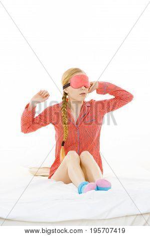 Sleepy Woman Wearing Pink Eye Band