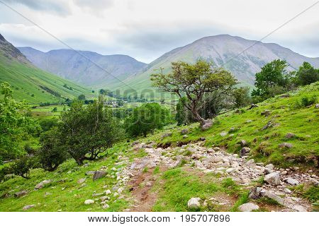 Views on the path to Scafell pike, the highest mountain in England, Lake District National Park, Cumbria, England, selective focus