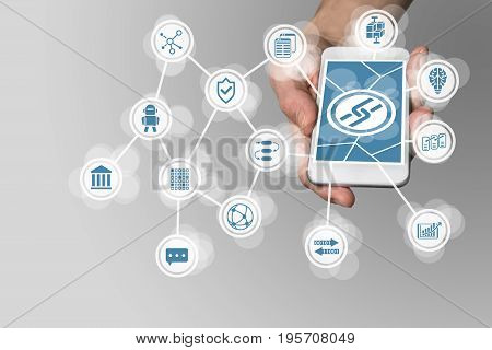 Blockchain concept with hand holding modern smart phone as example for fin-tech technology