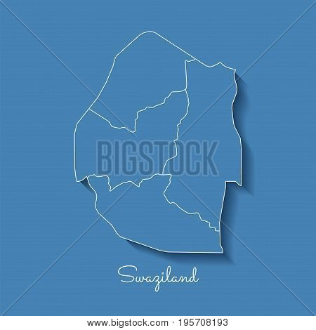 Swaziland Region Map: Blue With White Outline And Shadow On Blue Background. Detailed Map Of Swazila