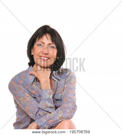 Portrait of pretty senior woman on white background. Beauty and care concept