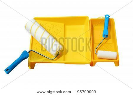 Yellow Painting Bathtub And Paint Roller Made Of Synthetic Fiber On The Surface Of Wooden Slats. Iso