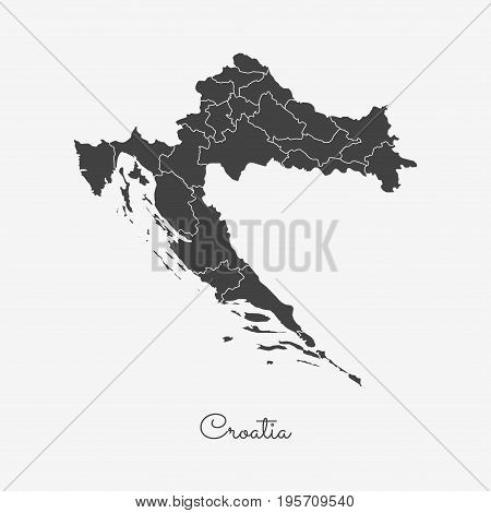 Croatia Region Map: Grey Outline On White Background. Detailed Map Of Croatia Regions. Vector Illust