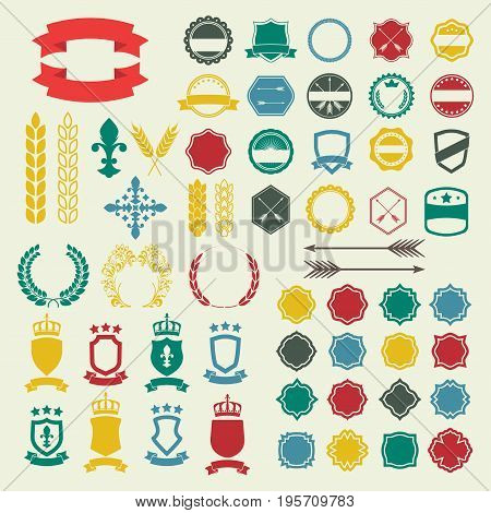 Emblem and labels set. Collection of retro style badges banners shields emblems typography frames arrow borders ribbons and stamps. Vector design elements.