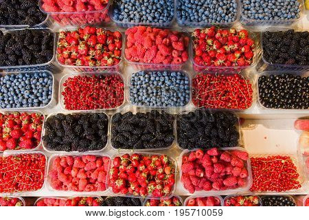 Fresh berries on display. Organic and fresh. Food background. Display on local farmers market.