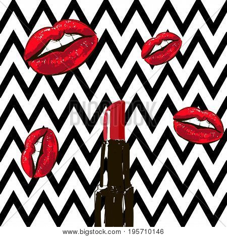 Beauty Red Hand-drawn Lipstick And Red Lips On A Black And White Striped Background. Pop Art, 90 , 8