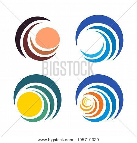 Wave and sun, sunset and sunrise logos. Isolated abstract decorative logo set, design element template on white background.