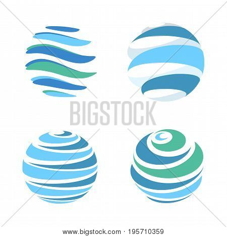 Abstract blue global planet stripped vector logos template set. Rotating blue strips, circular planet in motion around its axis. Miscellaneous universal isolated logo collection
