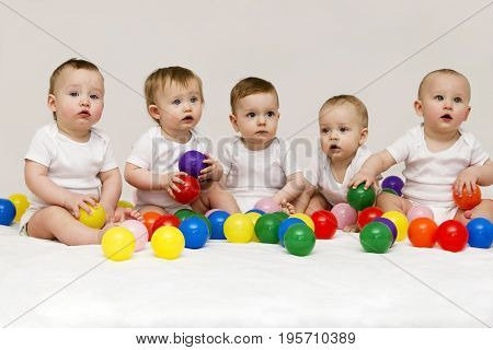 Row of caucasian babies sitting side by side looking away isolated on gray background. Five cute babies playing with colorfull balls.