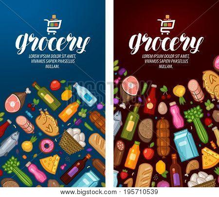 Grocery, food shop, supermarket label Banner design template