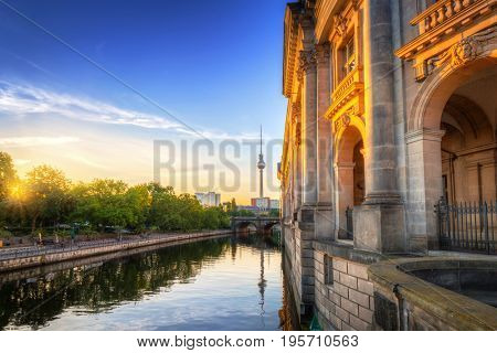 Architecture of city center in Berlin at dawn, Germany.