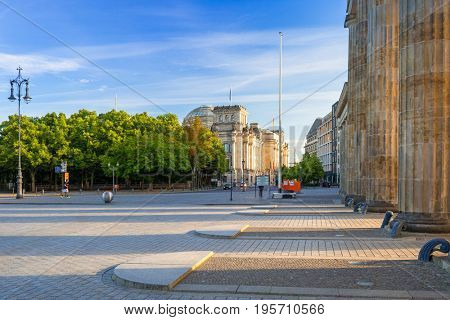 The Brandenburg and Reichstag in Berlin, Germany