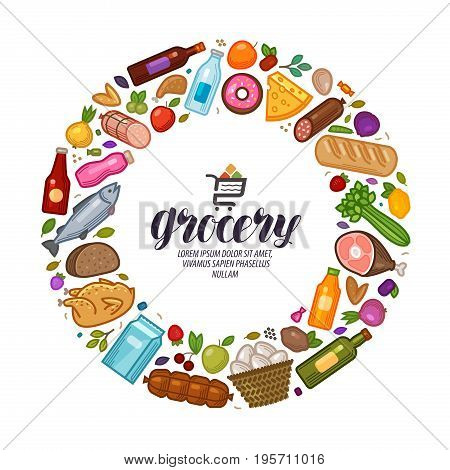 Grocery store, banner. Food, drinks set icons. Vector illustration isolated on white background