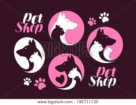 Pet shop, label set. Dog, cat, parrot animal icon or logo