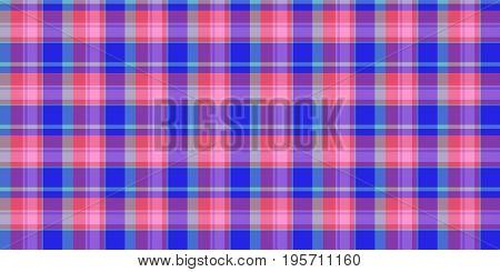 Pink Blue Seamless Scottish Tartan Background Texture