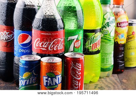 POZNAN POLAND - MAY 19 2017: Global soft drink market is dominated by brands of few multinational companies founded in North America. Among them are Pepsico Coca Cola and Dr. Pepper Snapple Group