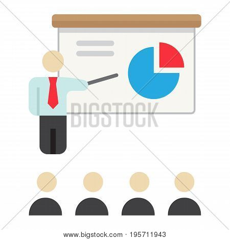 Training presentation flat icon, business and teacher, vector graphics, a colorful solid pattern on a white background, eps 10.