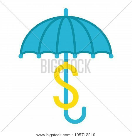 Business Insurance flat icon, umbrella and dollar sign, vector graphics, a colorful solid pattern on a white background, eps 10.
