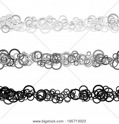 Random circle pattern text divider line design set from grey rings - repeatable vector graphic design elements