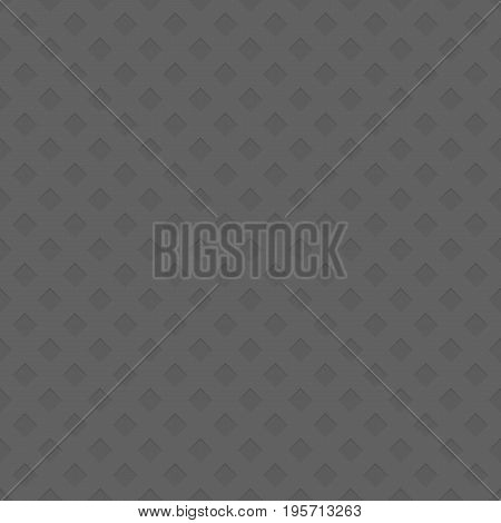 Grey seamless perforated diagonal square pattern texture background - spatial abstract vector illustration from negative cutout shapes with shadow effect