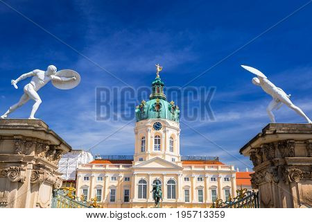 BERLIN, GERMANY - JUNE 15, 2017: Architecture of Charlottenburg palace in Berlin, Germany. Berlin is the capital and the largest city of Germany with a population of approximately 3.7 million people.