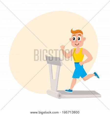 Young man running on treadmill, training in gym, doing sport exercises, cartoon vector illustration with space for text. Cartoon man, guy running on treadmill, doing cardio in gym