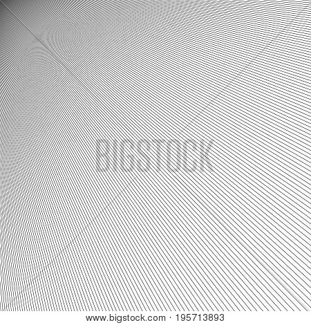 Monochrome abstract line pattern background - vector graphic design from thin black stripes on white