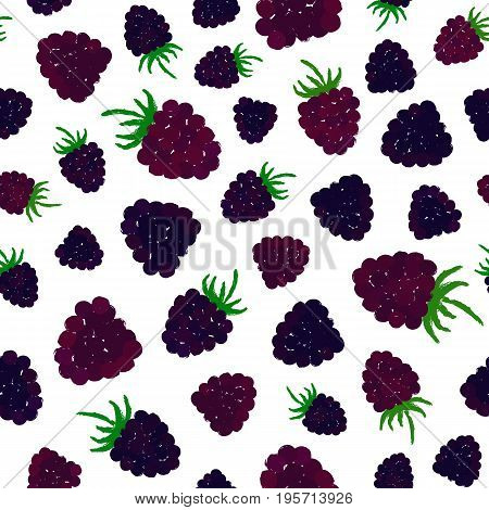 Blueberry Background. Berry Painted Pattern. Seamless chaotic decoration for kitchen wallpaper, poster print, furniture textile, fashion fabric. Bright slices with leaves. Vector illustration.